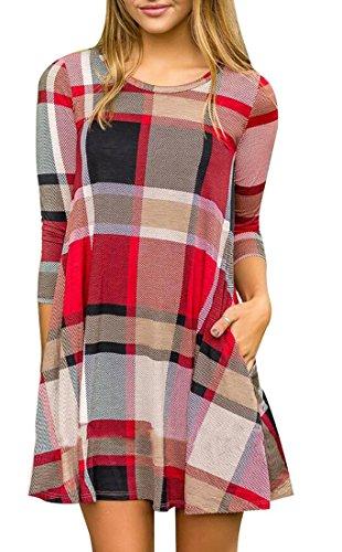 Jaycargogo T Casual Robe Imprimée À Carreaux Femmes Chemise Rouge En Tête