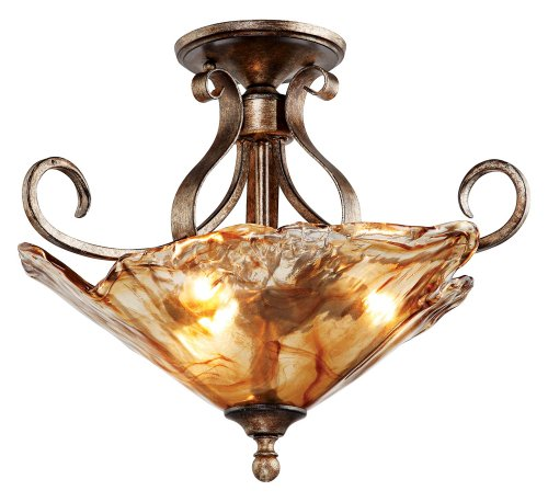 Amber Scroll 20 1/4 Wide Art Glass Ceiling - Glass Art Flush Mount
