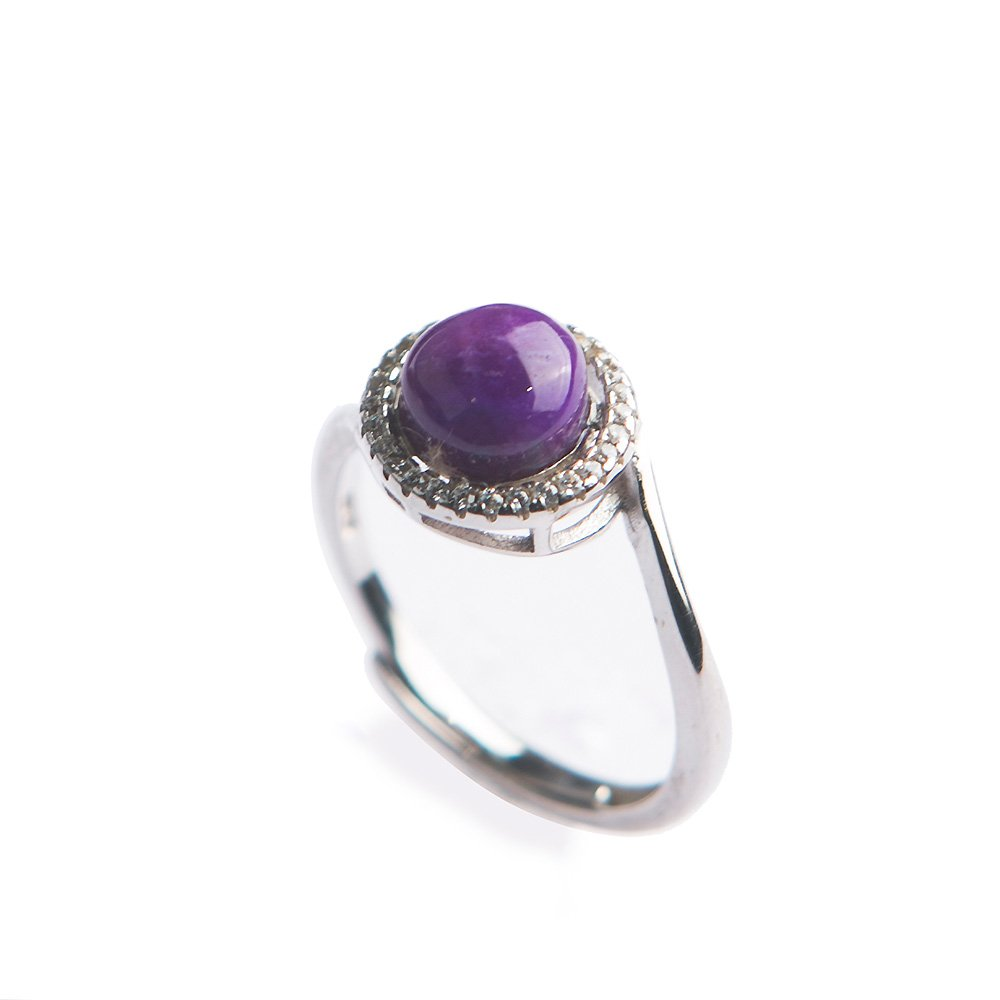 Natural Purple Sugilite Stone Precious Crystal Gemstone Ring Adjustable for Women Party Wedding