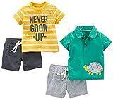 Simple Joys by Carter's Baby Boys' 4-Piece Playwear Set, Yellow Stripe/Green Turtle, 12 Months