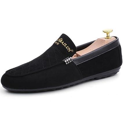 Zapatillas Slip On Faux Suede Casual Mocasines Zapatos Mocasines Rojo, Negro Zapatos para caminar GLSHI