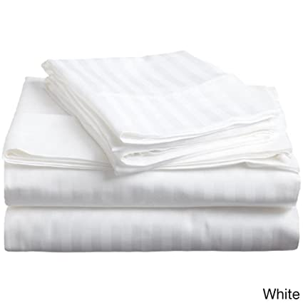 Vivendi 500  Thread Count Luxury Supima Cotton Damask Stripe Sheet Set   King, White