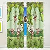 Vantaso Window Curtains 84 Inch Long Forest Animals Funny Monkey for Kids Girls Boys Bedroom Living Room Light Shading Polyester 2 Pannels
