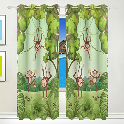 Vantaso Window Curtains 84 Inch Long Forest Animals Funny Monkey for Kids Girls Boys Bedroom Living Room Light Shading Polyester 2 Pannels by Vantaso
