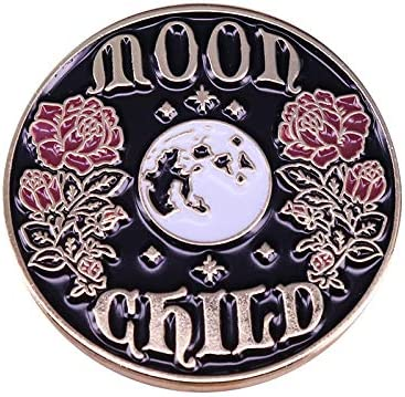 YYXXムーンチャイルドラペルピン花ブローチ天体ジュエリー美しいアートバッジ