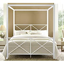 DHP Rosedale Metal Canopy Bed, Queen Size - White