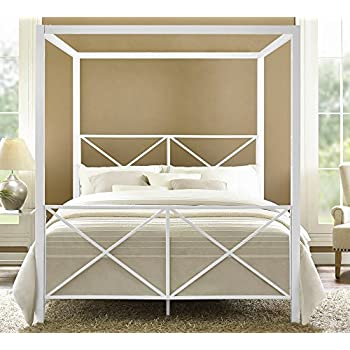 DHP Rosedale Metal Canopy Bed, Queen Size   White