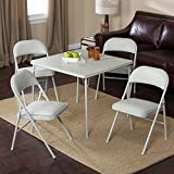 Meco Sudden Comfort Deluxe Double Padded Chair and Back – 5 Piece Card Table Set – Dream