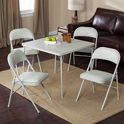 Meco Sudden Comfort Deluxe Double Padded Chair and Back - 5 Piece Card Table Set - Dream