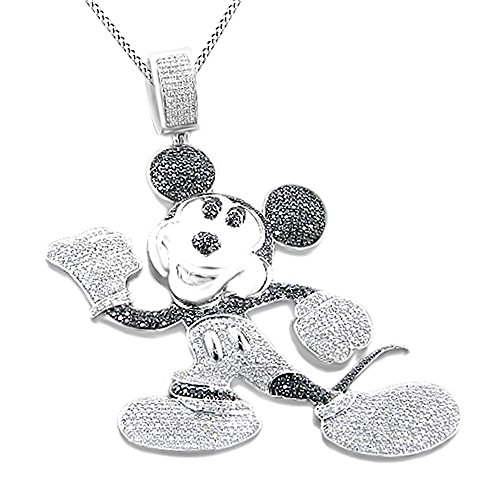 Simulated Black & White Cubic Zirconia Men's Hip Hop Mickey Mouse Pendant In 14k White Gold Over Sterling Silver by AFFY