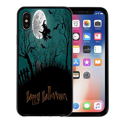 Emvency Phone Case for Apple iPhone Xs Case/iPhone X Case,Silhouette Black Haunted Halloween Party Forest Cartoon Castle Graveyard Soft Rubber Border Decorative, Black -