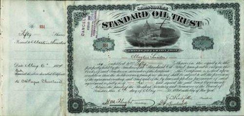 John D. Rockefeller Sr. - Stock Certificate Signed 05/06/1884 with co-signers
