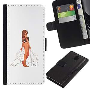 KLONGSHOP // Tirón de la caja Cartera de cuero con ranuras para tarjetas - Guerrero Mujer atractiva - Samsung Galaxy Note 3 III //