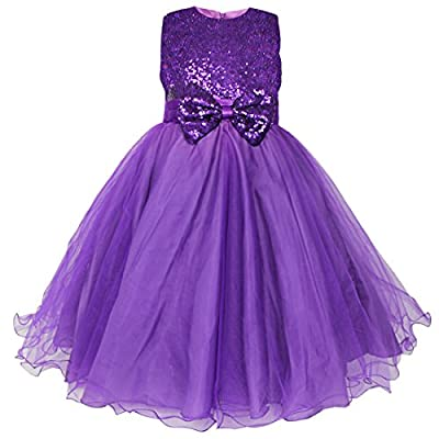 FEESHOW Girls' Glitter Sequined Bow Wedding Pageant Party Princess Flower Dress