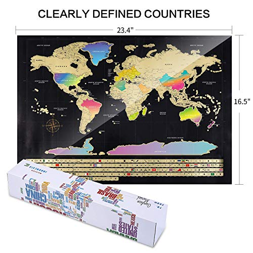 Scratch Off Map of The World - (2-in-1) World Map with Scratch Off ...
