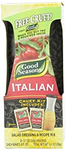 Good Seasons Salad Dressing & Recipe Kit, Cruet with 2-Count Italian Dressing Mix (Pack of 2)
