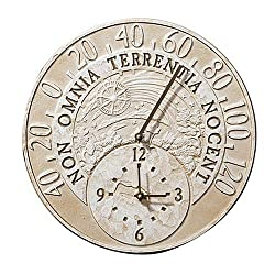 Chaney Instrument 14-inch Weathered Outdoor Clock with Thermometer