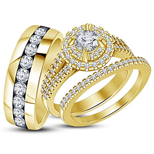 His & Her Wedding & Engagement Trio Ring Set in 14K Yellow Gold Plated With Simulated Diamond Jewelry