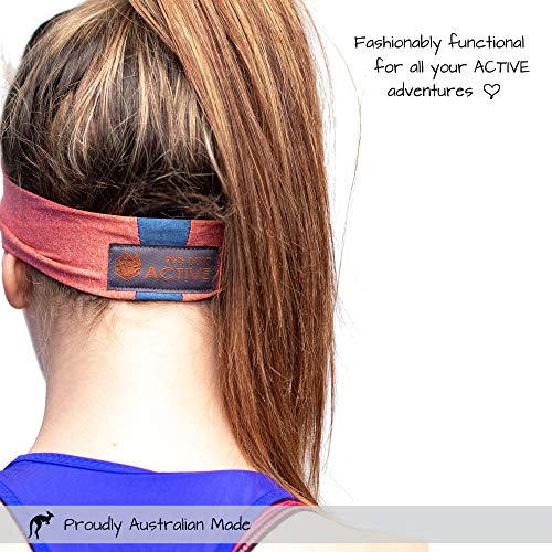 Red Dust Active Sports Headband - Lightweight, Wide & Moisture Wicking - The Ideal Red Running Sweatband - Designed for Women by Red Dust Active (Image #2)