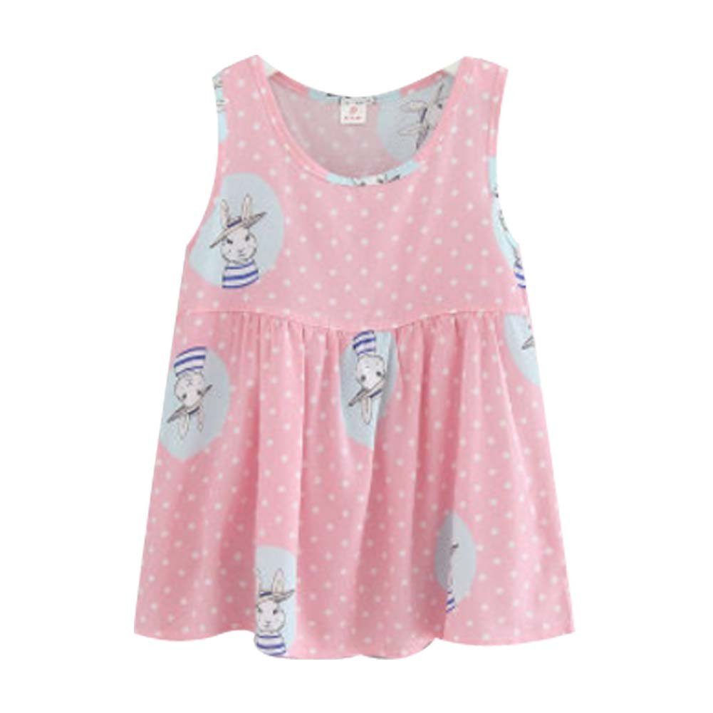 Koala Superstore [A] Kids' Pajama Home Nightdress Sleeveless Cotton Dress Vest Skirt for Girls