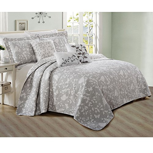 Home Soft Things Serenta 6 Piece Bird Song Printed Microfiber Quilts Coverlet Set, King, Gray