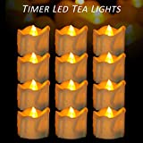 Micandle 12 Pack Battery Timer Tea Lights,6 Hours on and 18 Hours Off in 24 Hours Cycle Automatically,  LED+PP   No fire hazards or burning risks   Amber Timing Candles for Wedding Party Church Home D