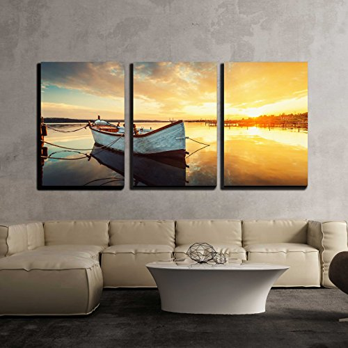 Boat on Lake with a Reflection in the Water at Sunset x3 Panels