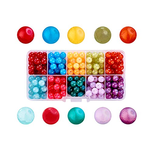 (Craftdady 10 Colors Imitation Jade Glass Round Beads Set 8mm Assorted Colors Ball Beads with Container Box)