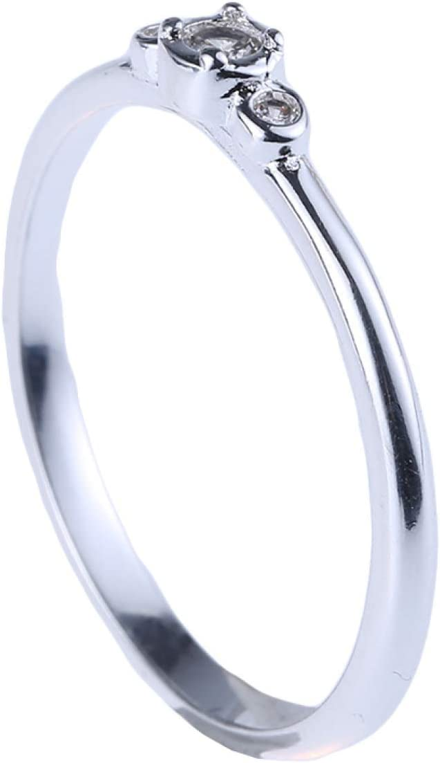 Joyería duradera elegante color oro/plata 3 circonitas piedra anillos nupcial boda anillo mujeres al por mayor (Ninguno 8 plata 8)