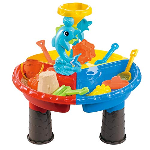 Kids Summer Beach Sand Water Table, Adjustable 2-in-1 Activity Round Water and Sand Table Center With Toy Tool For Outdoor Play, Suit For Toddlers Age 3-5 (Multicolour)