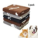 "Softan Pet Blanket Soft Warm Dog Blanket Washable Fleece Cat Blanket Suitable for Small Dog Puppy Cat Pet 5 Pieces Brown Gray Black 24"" × 28"""