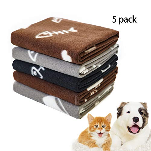 - Pet Dog Blanket,Warm Dog Bed Cover Paw Print Fleece Throw Blanket for Small,Medium Dog,Cat,Puppy,Kitten,Other Small Animals,5 Pack Mixed,24