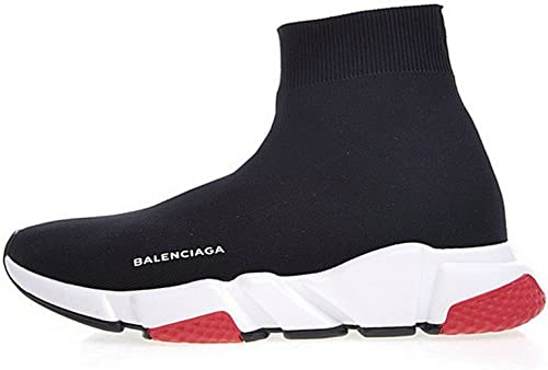 Balenciaga Speed Stretch Knit Mid Trainers Noir Blanc Rouge