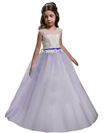 389bad63199 KoKoHouse Girls Wedding Flower Dress Appliques Backless Corset First  Communion Gown US 2 Lavender