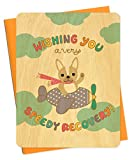 Night Owl Paper Goods Speedy Recovery Real Wood Care and Concern Card