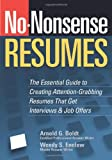 No-Nonsense Resumes, Wendy S. Enelow and Arnold G. Boldt, 1564149056