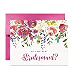 Floral Bridesmaid Cards Will You Be My Brides maid? Proposal Box Pack (Set of 5) Pretty Blooms Five Engaged Wedding Bridal Party Cards Hot Pink Fuchsia Shimmer Metallic Envelopes CW0010-1