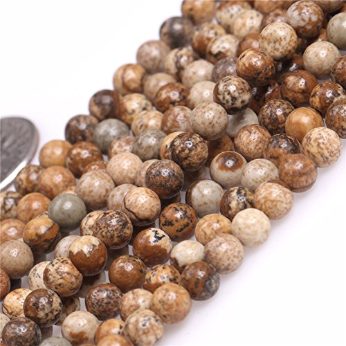 Natural Round Picture Jasper Gemstone Beads For Jewelry Maki