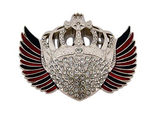 Crown Belt Princess (Crown Belt Buckle Royal Princess Prince Gothic Tribal Tattoo Silver Metal Rock Rebel Rhinestones)