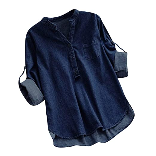 b4f8b31a3f Women s Classic Denim Shirt Tops Solid Button Up Blouse Cuffed Sleeve  Pullover Jackets Pocket Henley Tunic