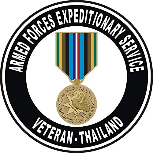 US Navy Armed Forces Expeditionary Medal Thailand Military Veteran Served Window Bumper Sticker Vinyl Decal 3.8