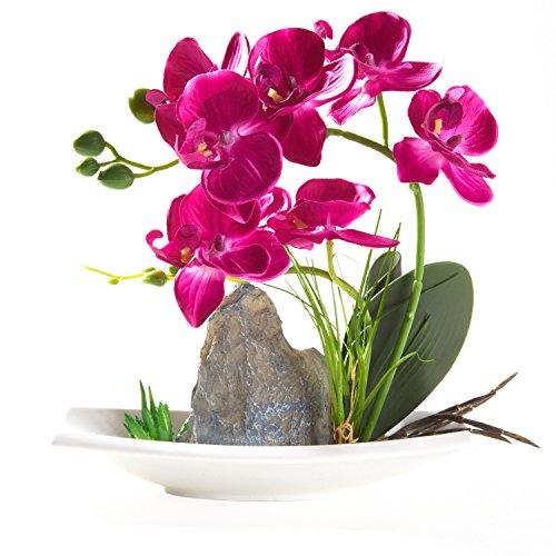 Artificial Phaleanopsis Arrangement with Vase Decorative Orchid Flower Bonsai Rockery Series (Purple)