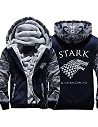 GoT House Stark Direwolf Thicken Camo Fleece Hoodie Zip Up Hooded Coat Jacket Sweater