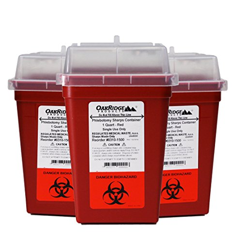3 Waste Containers (1 Quart Size (Pack of 3) | Sharps Disposal Container | OakRidge Products)