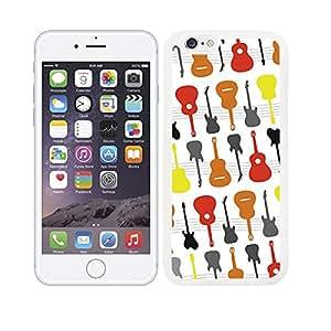 Funda carcasa TPU Gel para Apple iPhone 6S Plus diseño estampado guitarras de colores borde blanco