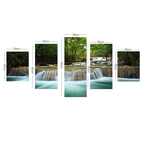 5 Panel Waterfall Painting Home Living Room Decoration Canvas Print Painting Large Canvas Art Unframed Combined Oil (3d Halloween Wallpaper For Mac)