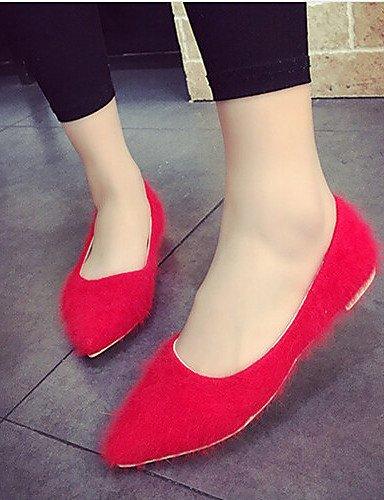 Flats Casual us5 Simple Red Mujer punta De 5 Soporte Toe Comodidad Esmerilado bomba Uk3 Pdx Eu36 Zapatos Cn35 5 Talón wCqP6xFq4B