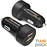 Trianium Car Charger 24W 4.8A Dual USB Phone Charger (2-Pack) with AtomicDrive Smart Ports For iPhone X/8/7/6s/6/SE/Plus, iPad Pro/Air 2/Mini, Galaxy S9 S8 S7 S6 Edge, Note 8 5 4, LG G6, HTC