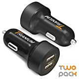 Trianium Car Charger 24W 4.8A Dual USB Phone Charger (2-Pack) with AtomicDrive Smart Ports for iPhone XR XS Max X 8 7 6s 6 SE Plus, iPad Pro/Air/Mini, Galaxy S9 S8 S7 Edge, Note 9 8 5, LG G6, HTC
