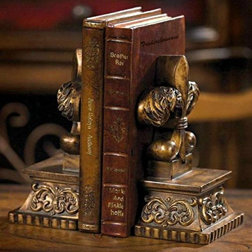 Antique Style Rustic Fleur De Lis Statue Bookends Symbolic Book Rest Sculpture